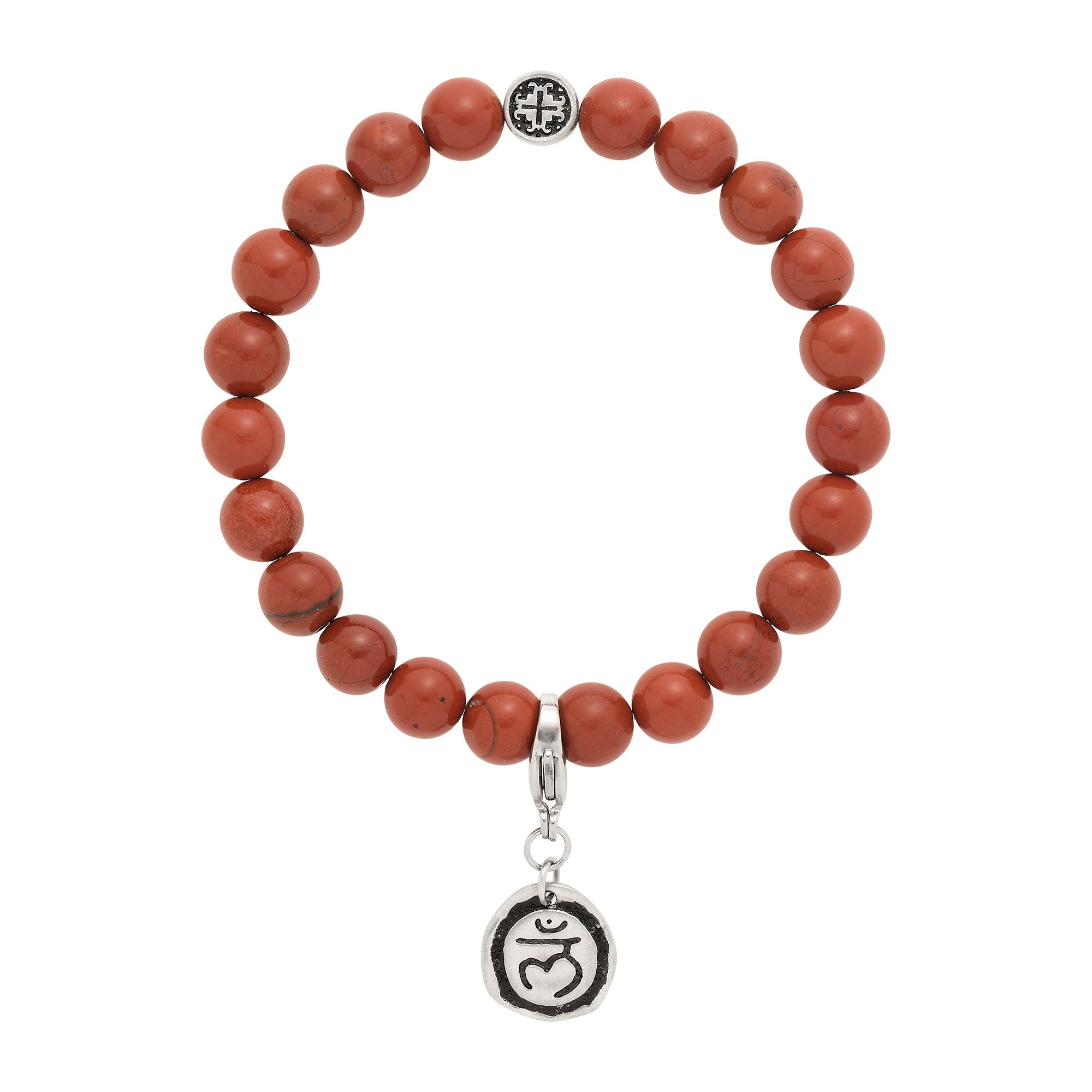 ROOT CHAKRA: Red Jasper Unisex Stretch Bracelet with Detachable Chakra Charm