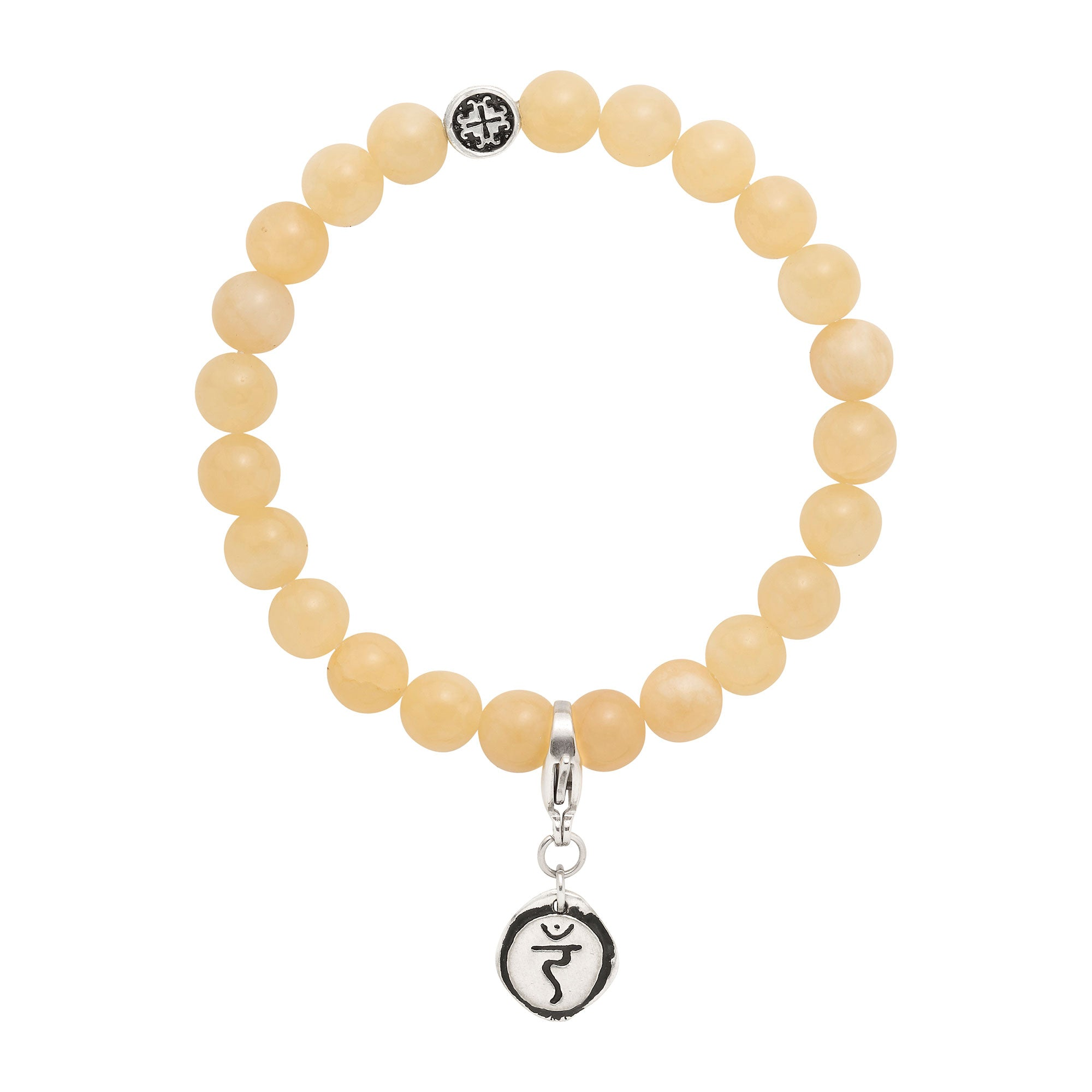 SOLAR PLEXUS CHAKRA: Yellow Jade Unisex Stretch Bracelet with Detachable Chakra Charm