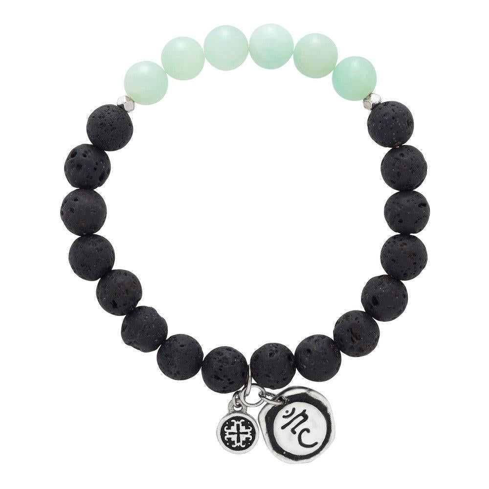 Amazonite Chakra Lava Stretch Bracelet with Vishudda Charm (8mm) - malaandmantra
