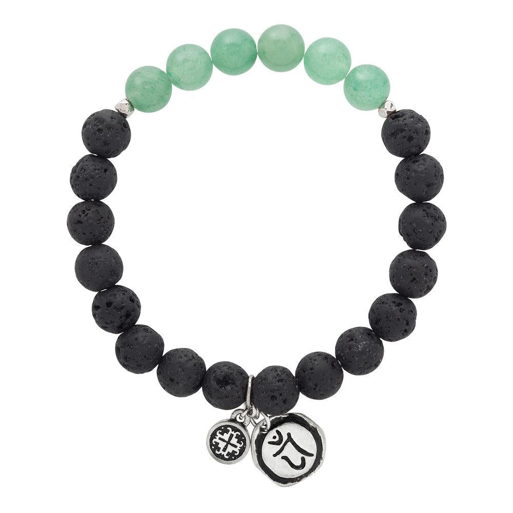 Green Aventurine Chakra Lava Stretch Bracelet with Anahata Charm (8mm) - malaandmantra