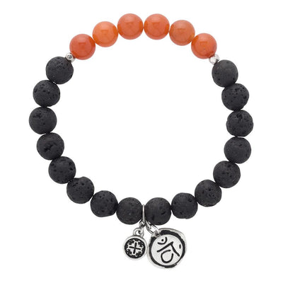 Red Aventurine Chakra Lava Stretch bracelet with Svadhisthana Charm (8mm) - malaandmantra