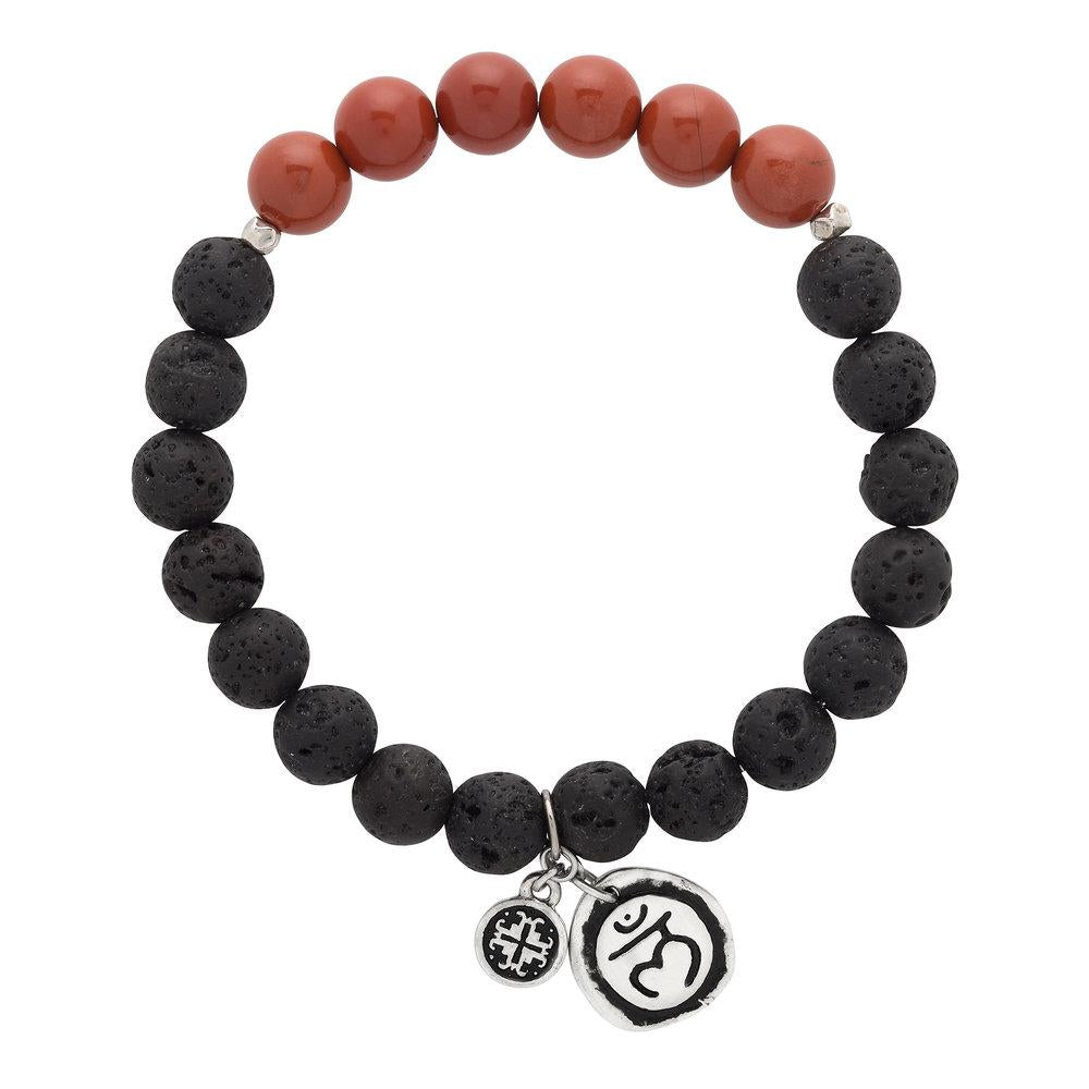 Red Jasper Chakra Lava Stretch bracelet with Muladhara Charm (8mm) - malaandmantra