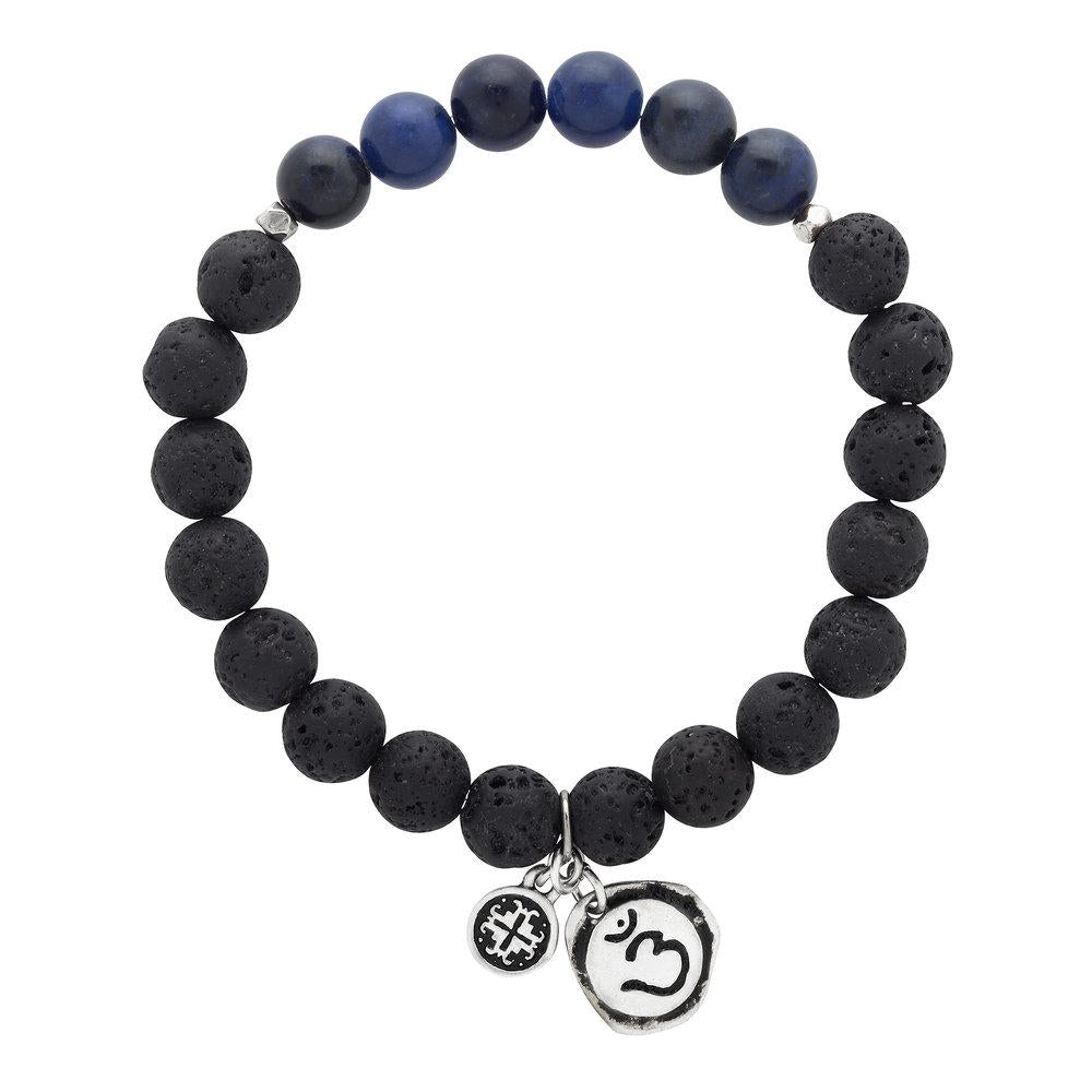 Sodalite Chakra Lava Stretch Bracelet with Ajna Charm (8mm) - malaandmantra