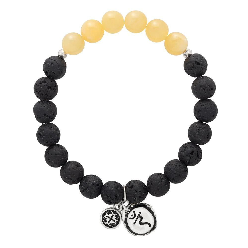 Yellow Jade Chakra Lava Stretch bracelet with Manipura Charm (8mm) - malaandmantra