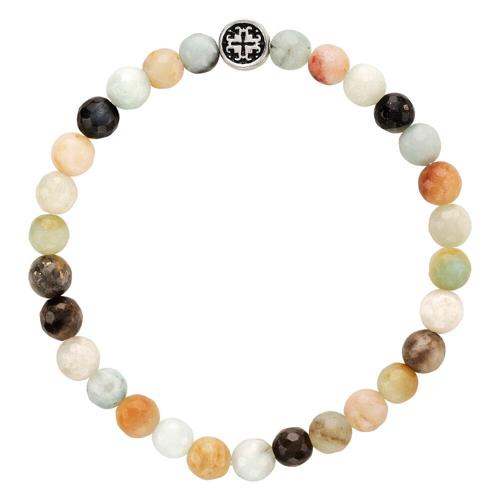 Amazonite Multi Faceted Gemstone Stretch Bracelet - malaandmantra