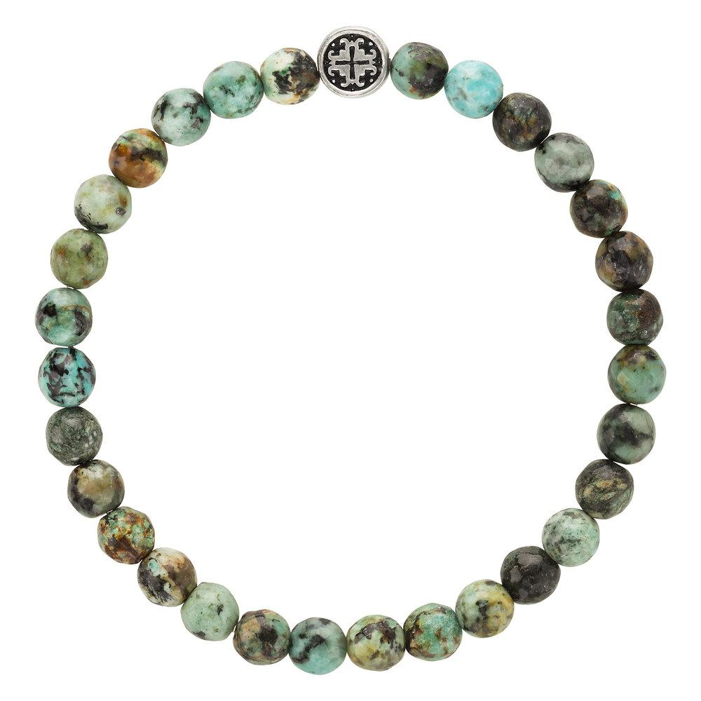 African Turquoise Faceted Gemstone Stretch Bracelet - malaandmantra