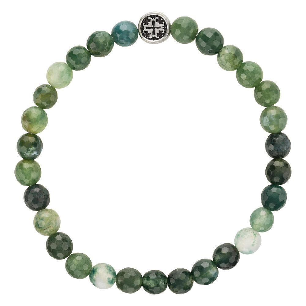 Moss Agate Women's Faceted Gemstone Stretch Bracelet - malaandmantra