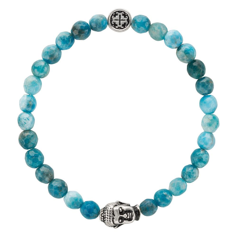 Apatite Faceted Gemstone Stretch Bracelet with Buddha Bead - malaandmantra