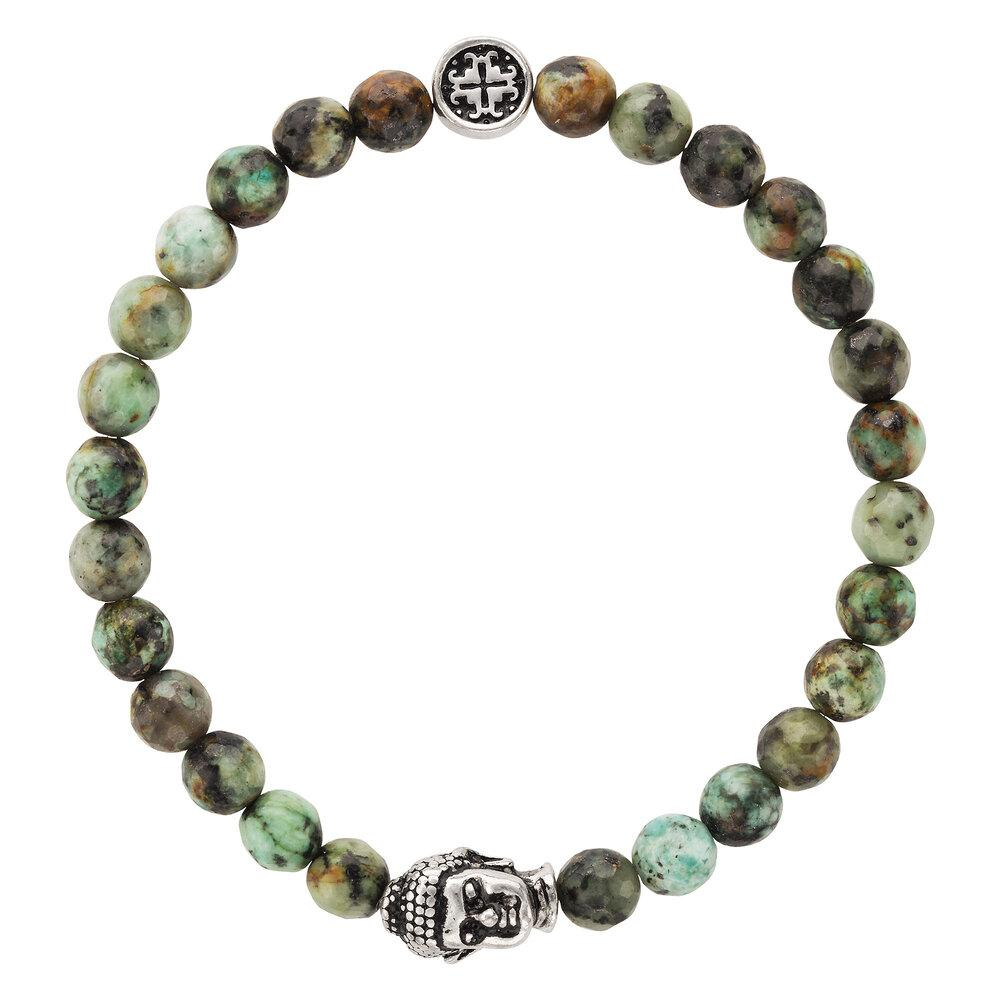 African Turquoise Faceted Gemstone Stretch Bracelet with Buddha Bead - malaandmantra