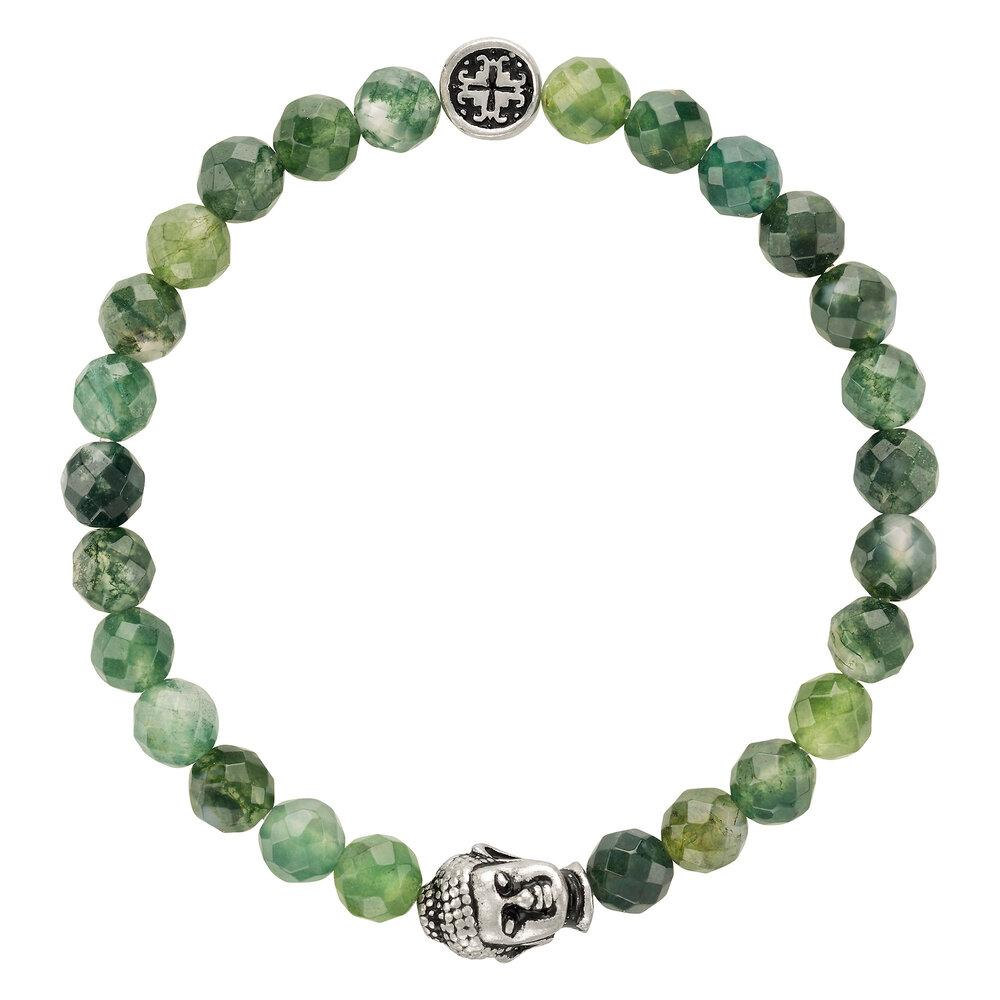 Moss Agate Women's Faceted Gemstone Stretch Bracelet with Buddha Bead - malaandmantra