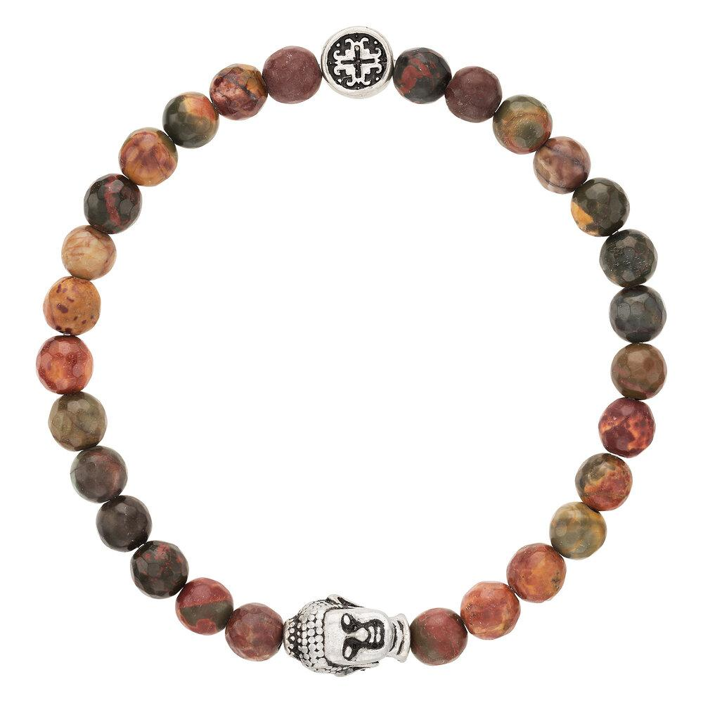Red Creek Jasper Women's Faceted Gemstone Stretch Bracelet with Buddha Bead - malaandmantra