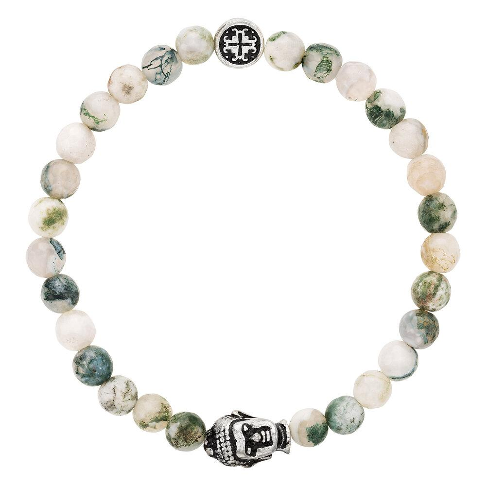 Tree Agate Women's Faceted Gemstone Stretch Bracelet with Buddha Bead - malaandmantra