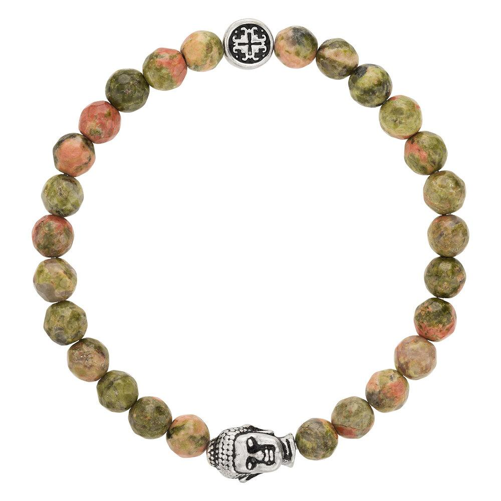 Unakite Women's Faceted Gemstone Stretch Bracelet with Buddha Bead - malaandmantra
