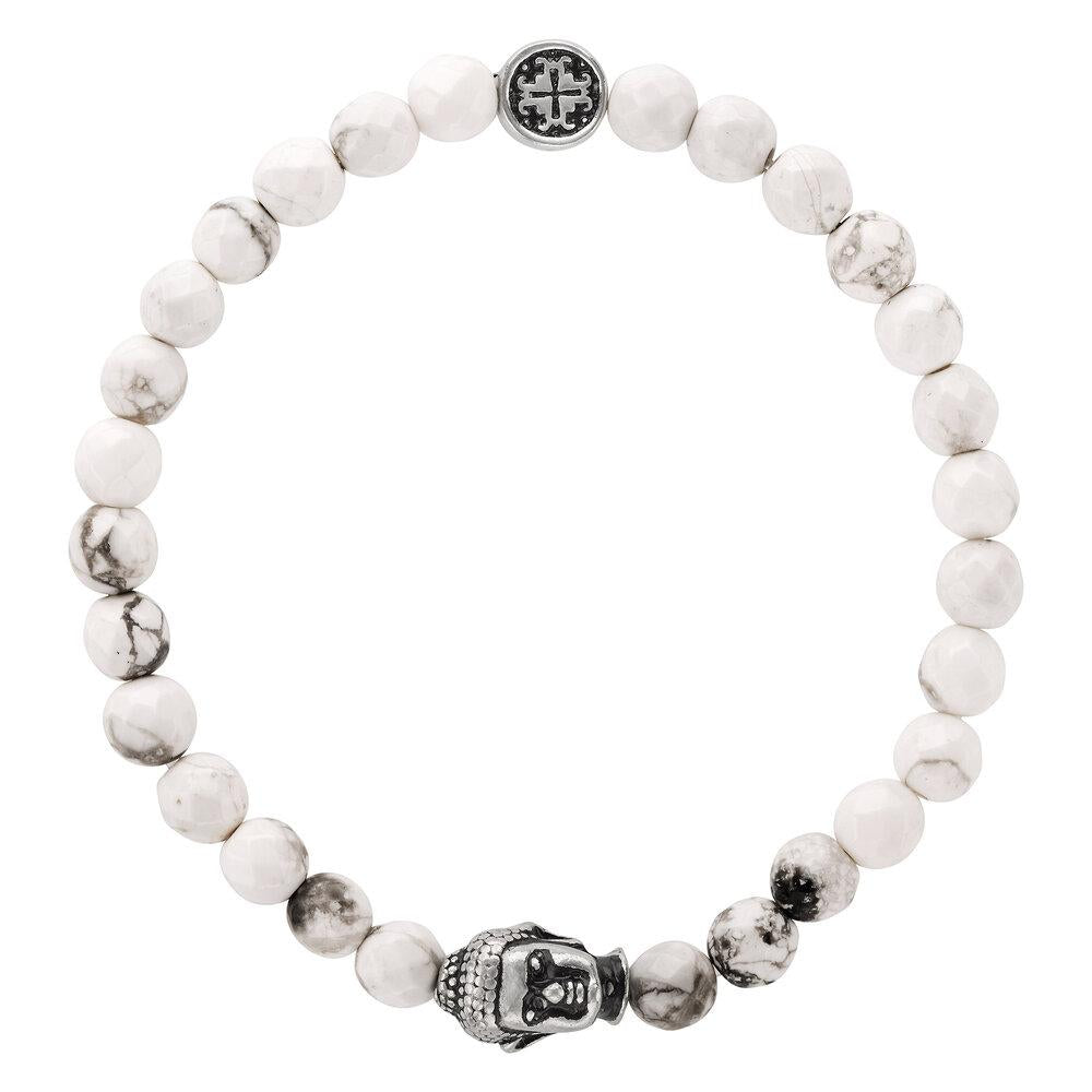White Howlite Faceted Gemstone Stretch Bracelet with Buddha Bead - malaandmantra