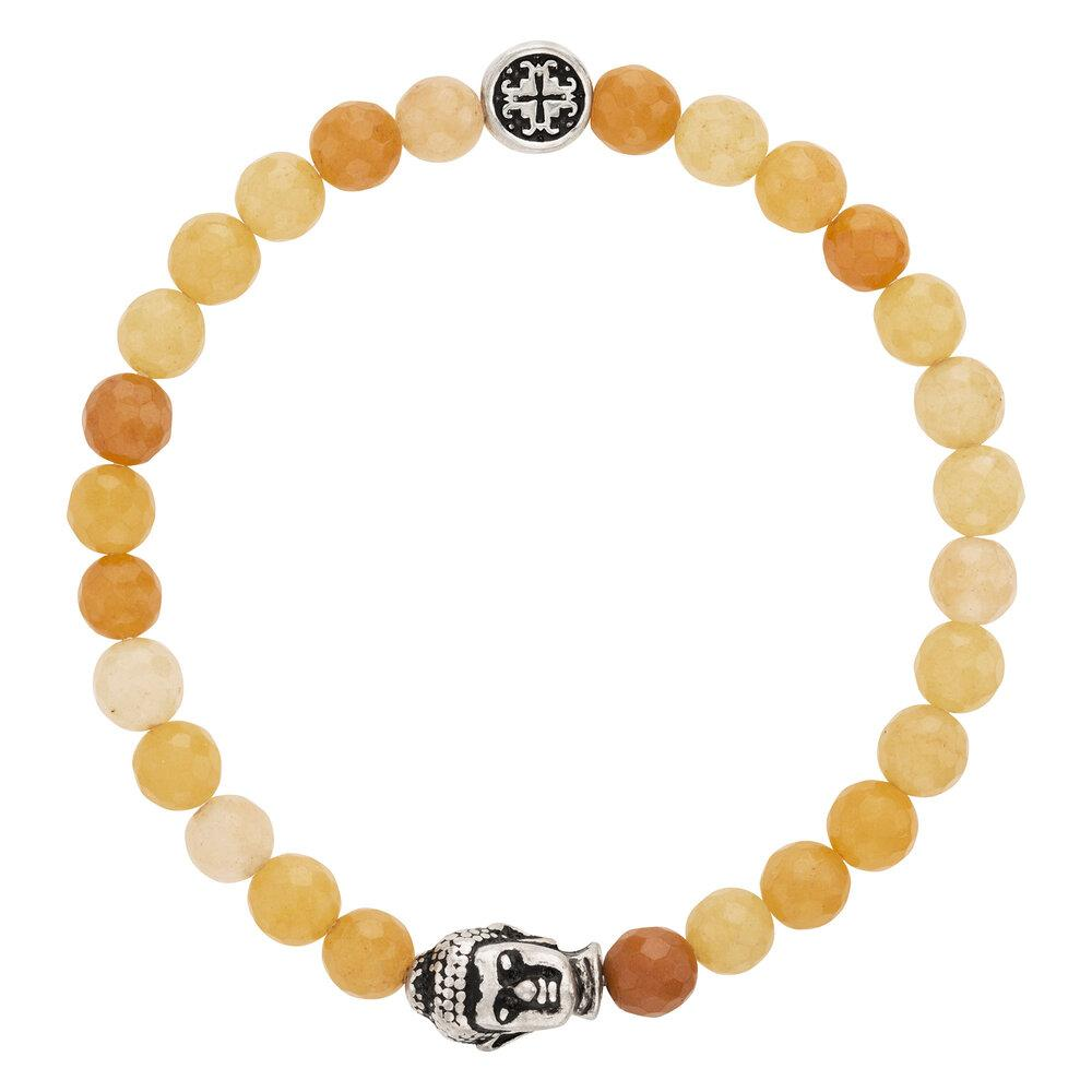 Yellow Jade Faceted Gemstone Stretch Bracelet with Buddha Bead - malaandmantra