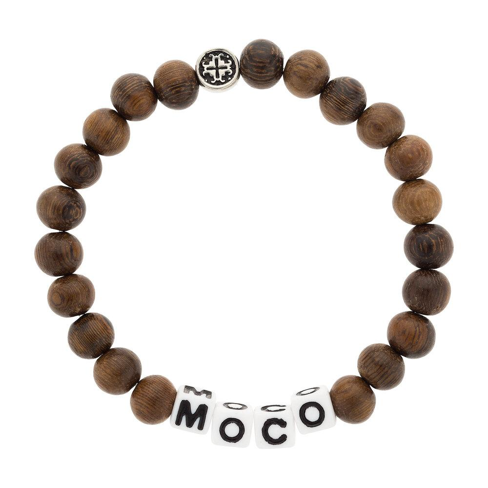 MOCO (more compassion) Robles Wood Stretch Unisex Mala Bracelet (8mm) - malaandmantra