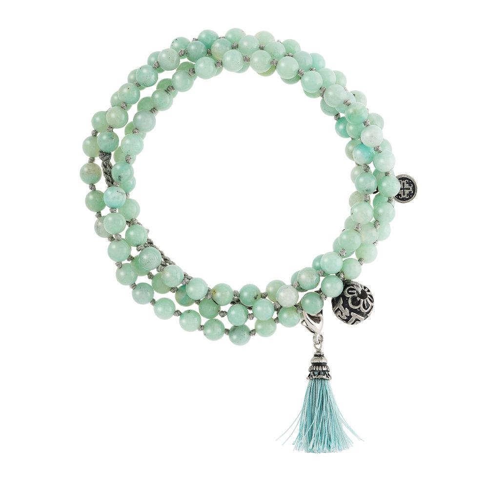 108 Bead Amazonite Wrap Mala - malaandmantra