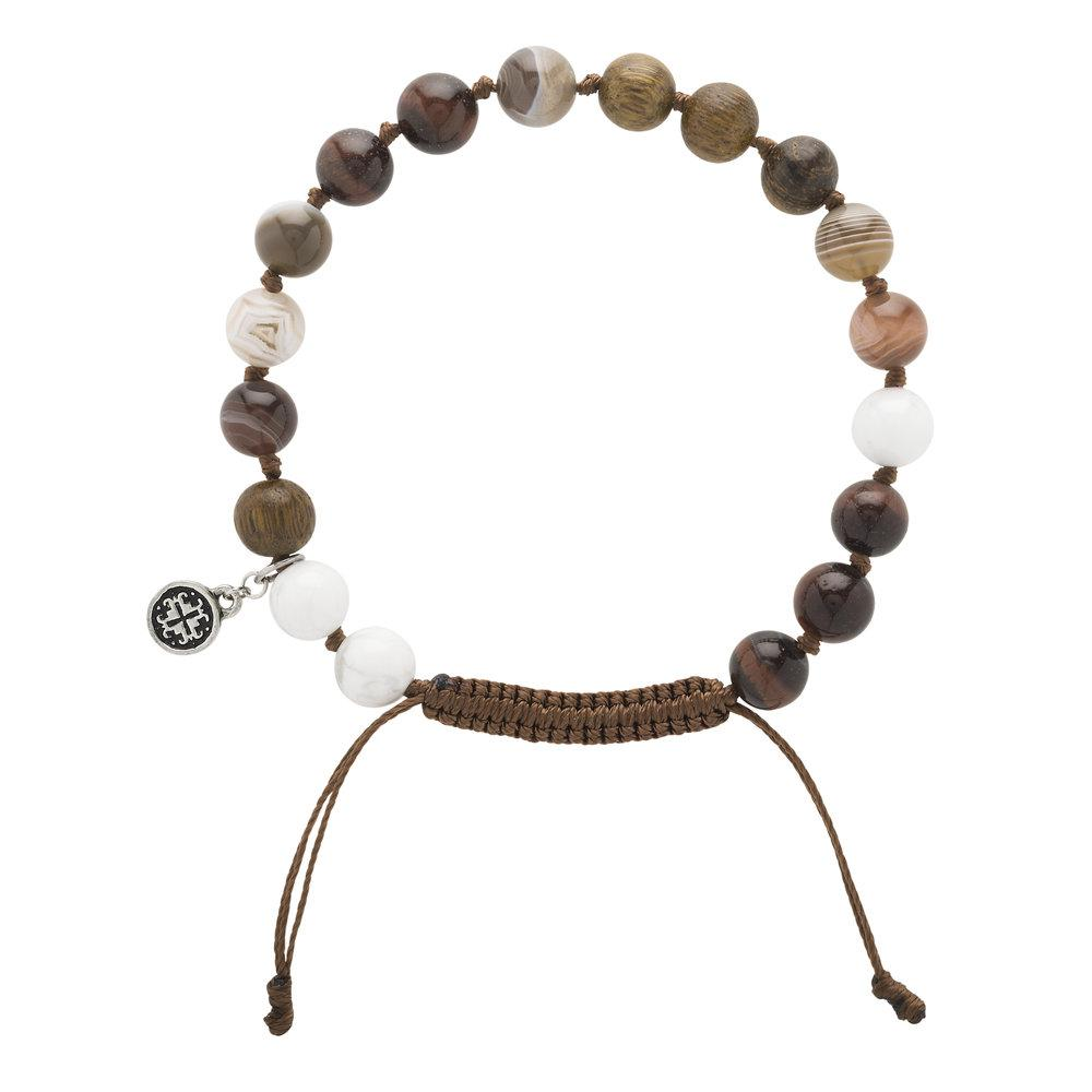Robles Wood + Gemstone Mix Men's-Unisex Mala Bracelet - malaandmantra