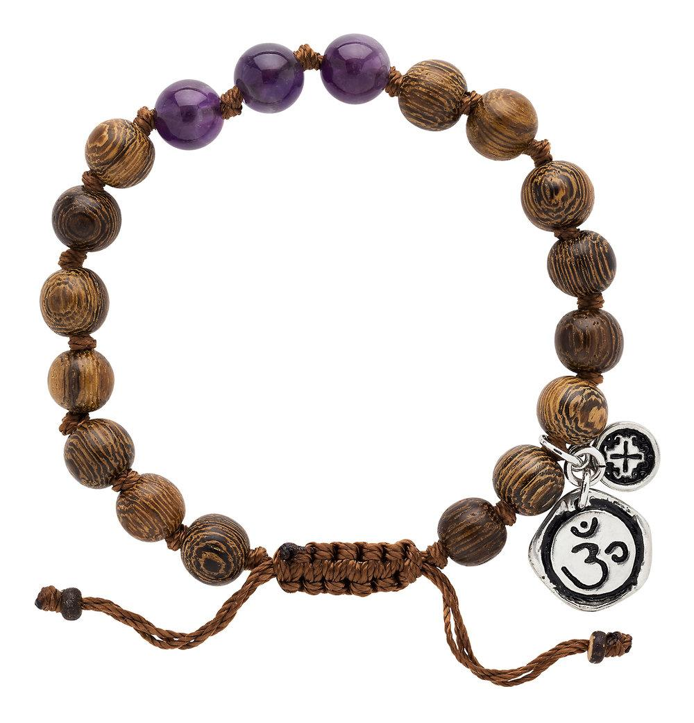 Amethyst Triple Happiness Bracelet with Sahaswara Charm - malaandmantra