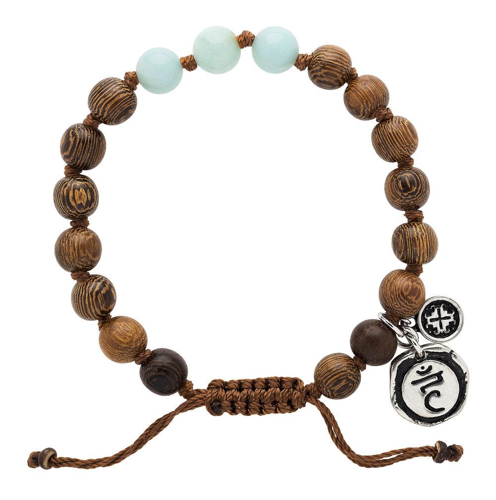 Amazonite Triple Happiness Bracelet with Vishudda Charm - malaandmantra
