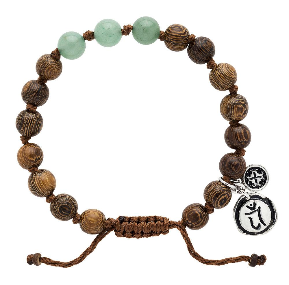 Green Aventurine Triple Happiness Bracelet with Anahata Charm - malaandmantra