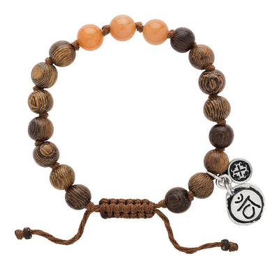 Red Aventurine Triple Happiness Bracelet with Svadhisthana Charm - malaandmantra