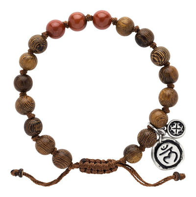 Red Jasper Triple Happiness Bracelet with Muladhara Charm - malaandmantra