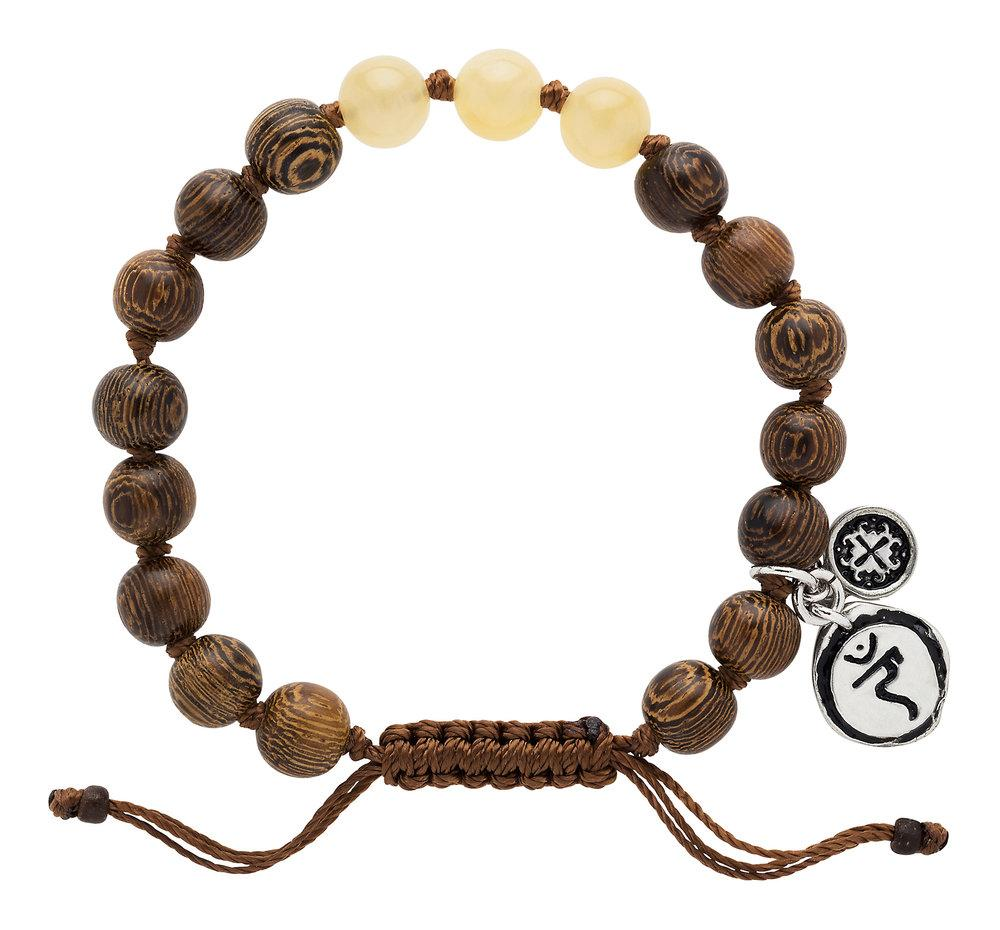 Yellow Jade Triple Happiness Bracelet with Manipura Charm - malaandmantra