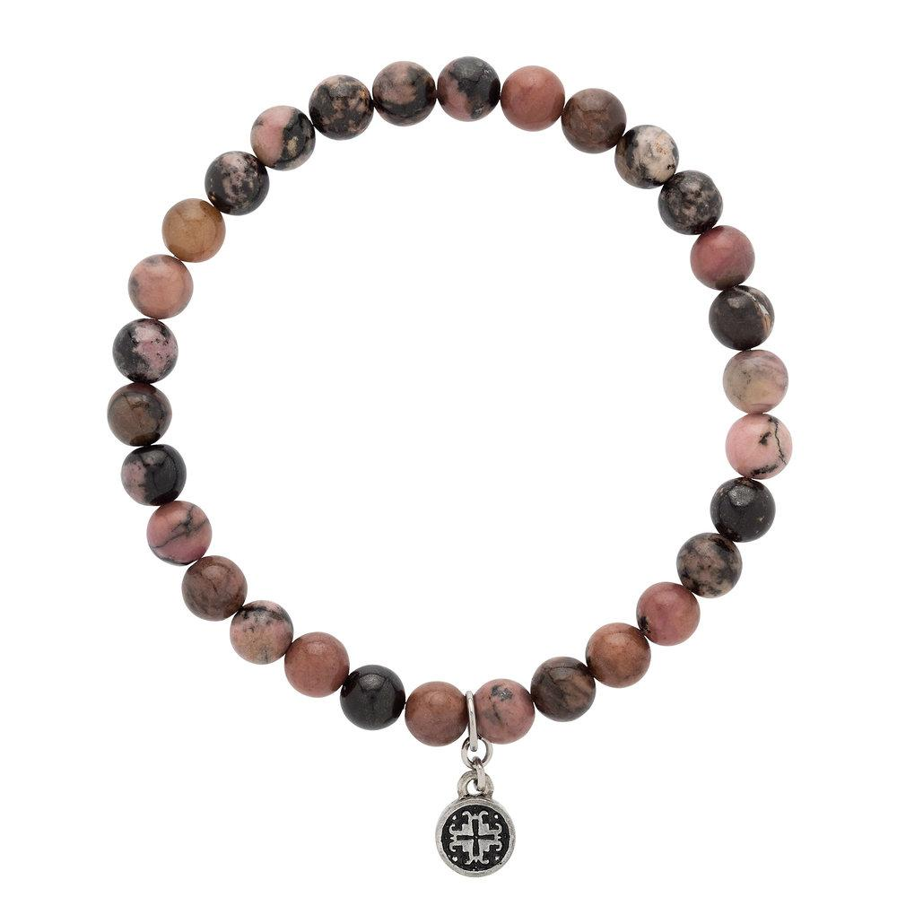 Rhodonite Stretch Bracelet (6mm) - malaandmantra