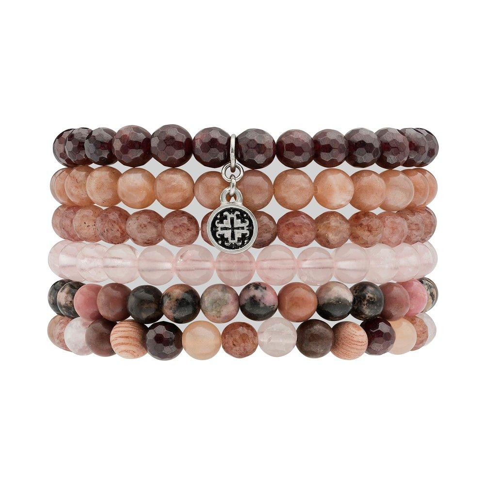 Metta Mala Gemstone Stretch Bracelet Stack (6mm) - malaandmantra