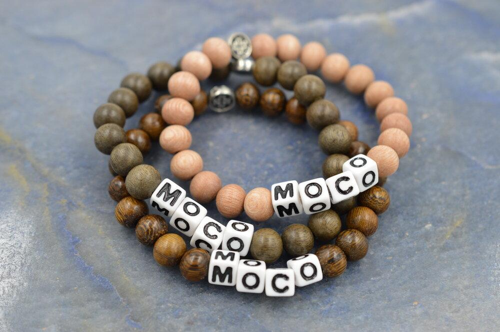 MOCO (more compassion) Assorted 3 Pack Stretch Mala Bracelets (8mm) - malaandmantra