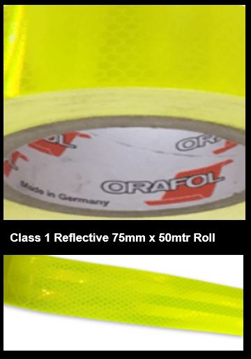 Hi-Vis Yellow Green Adhesive Vehicle Reflective SafetyTape Class 1 75mmx50m Roll