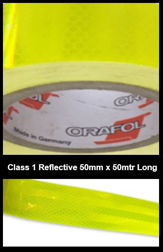 Hi-Vis Yellow Green Adhesive Vehicle Reflective SafetyTape Class 1 50mm x 50m Roll