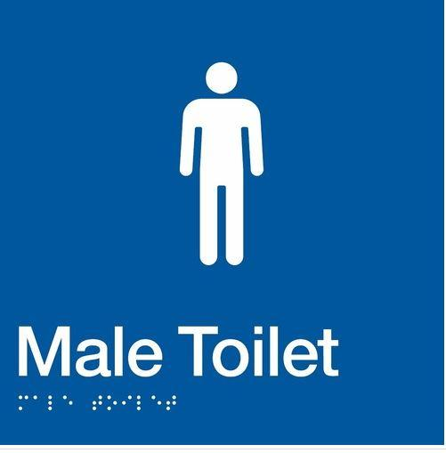 Blue Male Toilet 180x180 Braille Sign AS1248