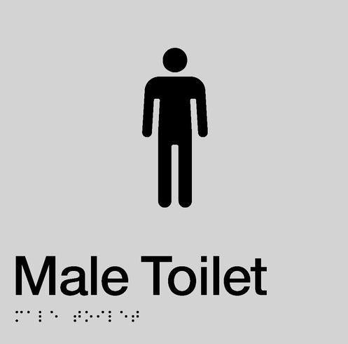 Silver Male Toilet 180x180 Braille Sign AS1248