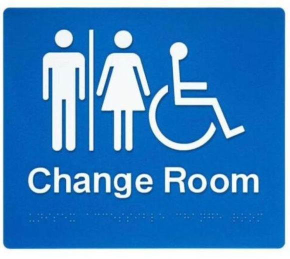 Blue Change Room (Unisex, Accessible Airlock) 180x210 Braille Sign AS1248