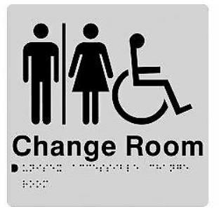 Silver Change Room (Unisex Accessible Airlock) 180x210 Braille Sign AS1248