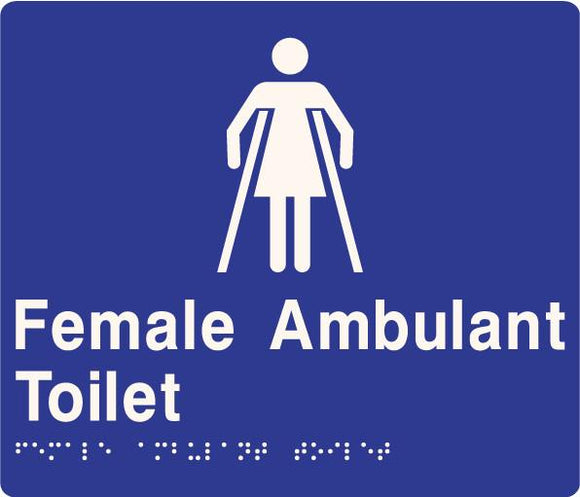 Blue Female Ambulant Toilet 180x180 Braille Sign AS1248