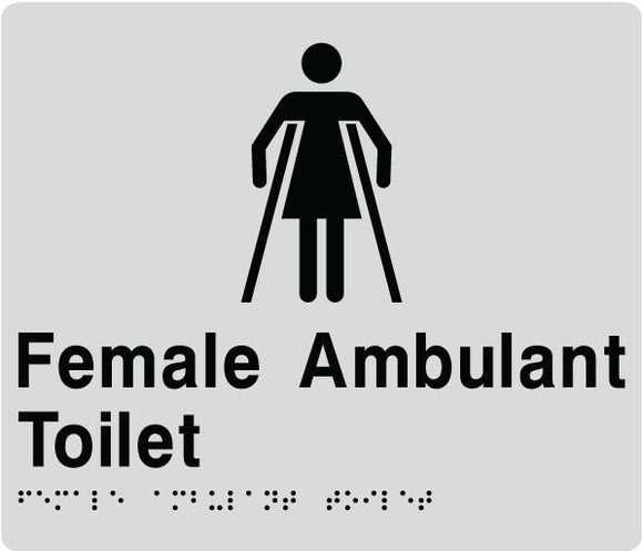 Silver Female Ambulant Toilet 180x180 Braille Sign AS1248