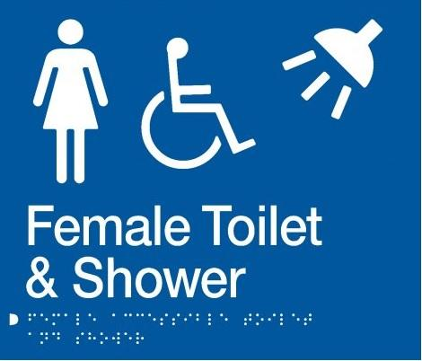 Blue Female Toilet & Shower (Accessible) 180x210 Braille Sign AS1248
