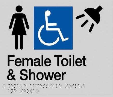 Silver Female Toilet & Shower (Accessible) 180x210 Braille Sign AS1248
