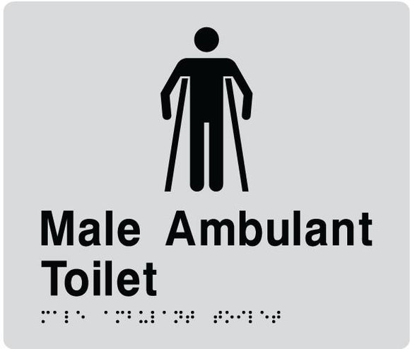 Silver Male Ambulant Toilet 180x180 Braille Sign AS1248