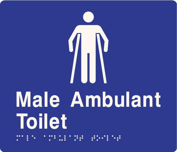 Blue Male Ambulant Toilet 180x180 Braille Sign AS1248