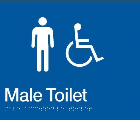 Blue Male Toilet (Accessible) 180x210 Braille Sign AS1248