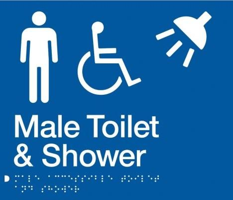 Blue Male Toilet & Shower (Accessible) 180x210 Braille Sign AS1248