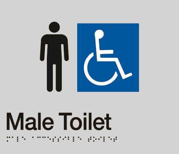 Silver Male Toilet (Accessible) 180x210 Braille Sign AS1248
