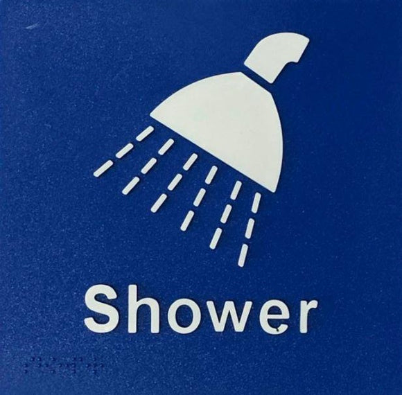 Blue Shower 180x180 Braille Sign AS1248