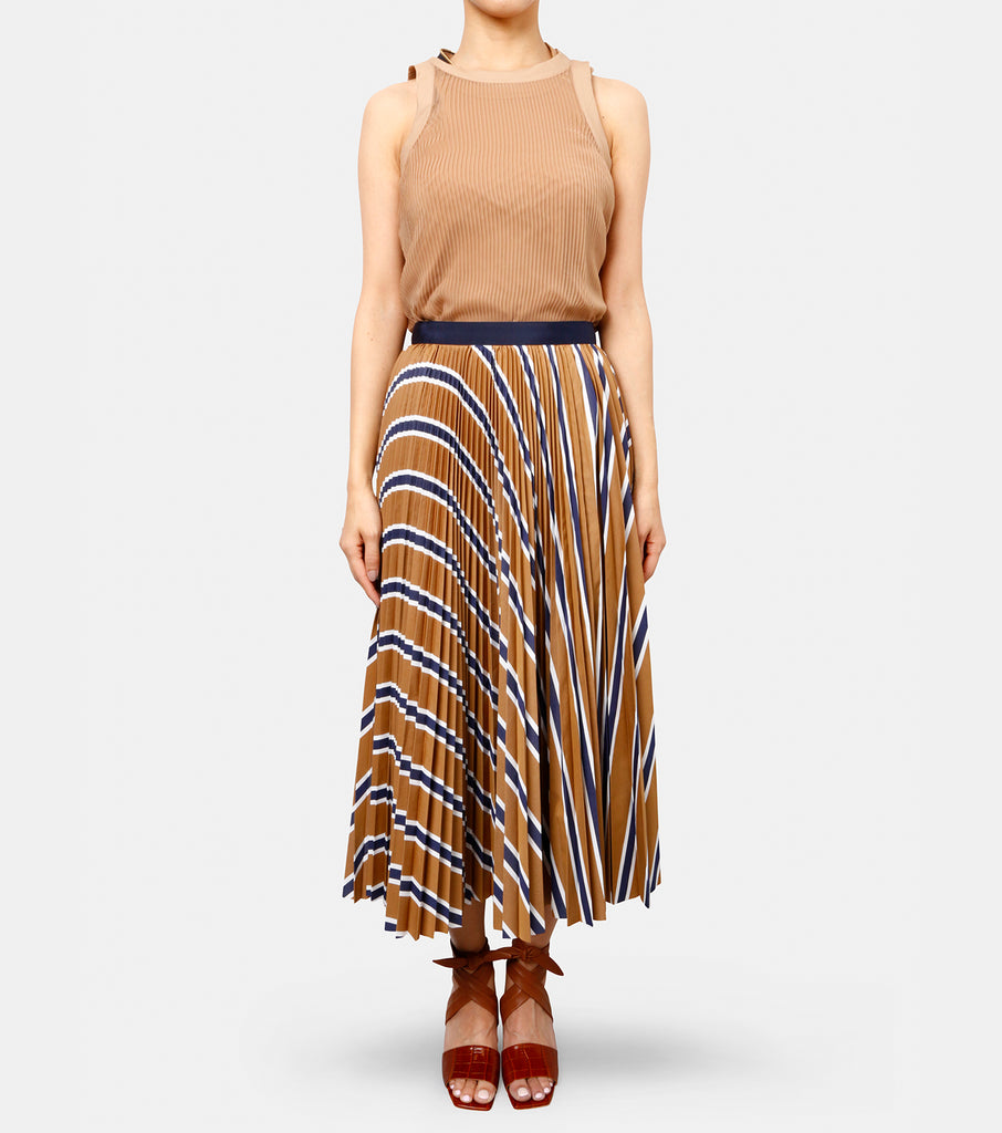 Cotton Stripe Pleated Skirt