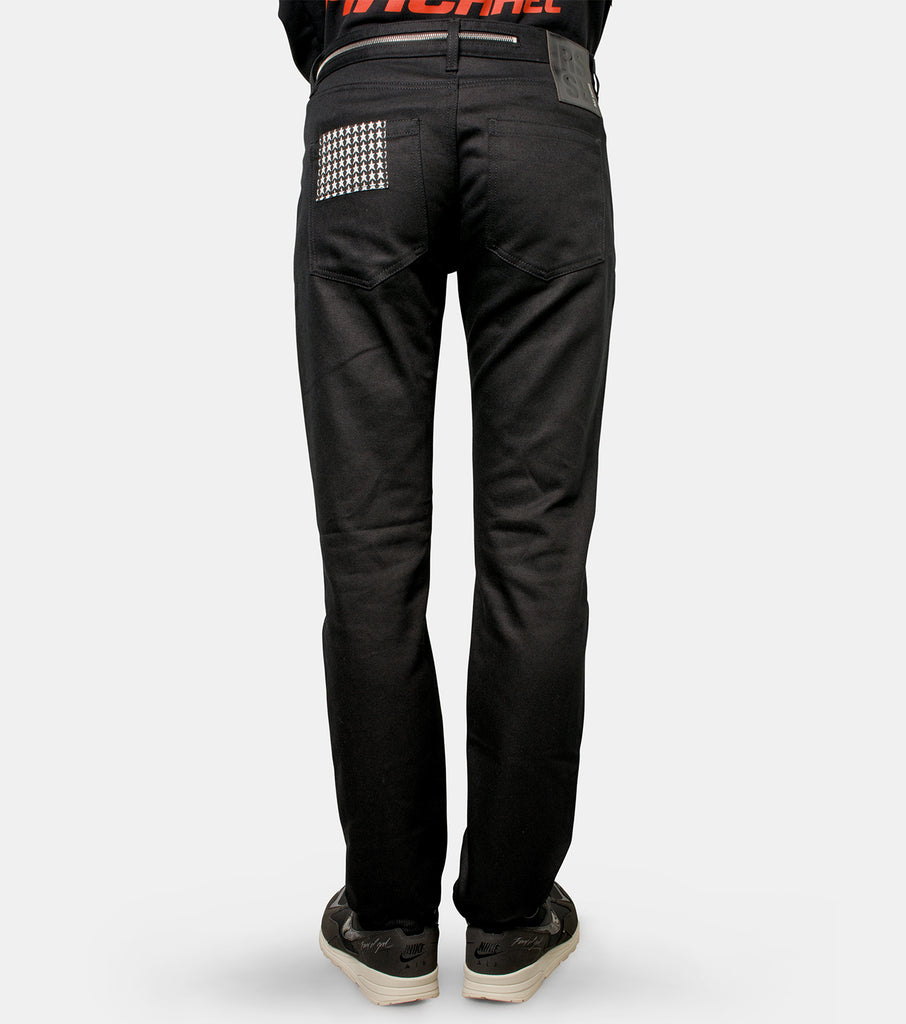 Slim fit denim pants with big zip an