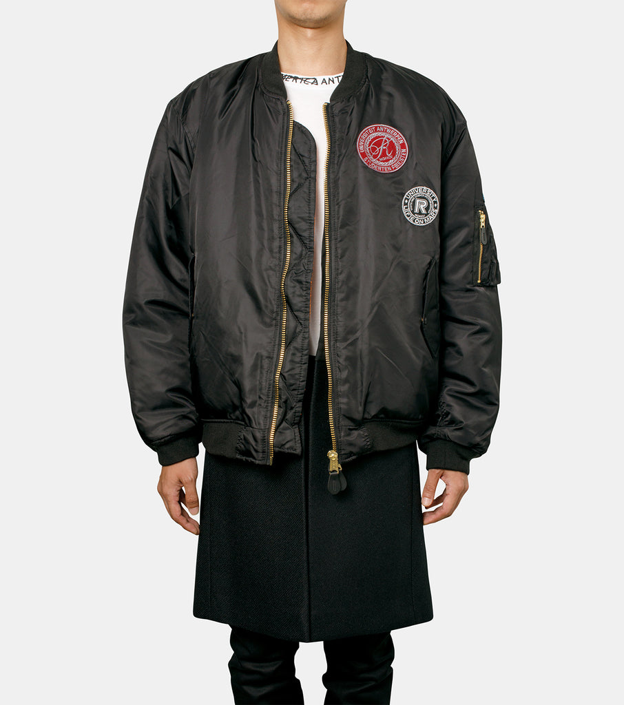 Nylon patched bomber with wool elong